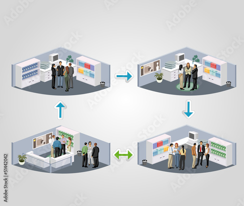 Template of a work process with business people in offices