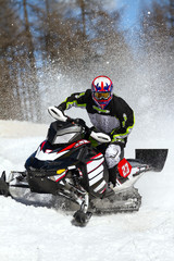 snowmobile in action