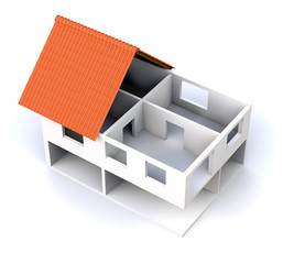 3D house cross section top view