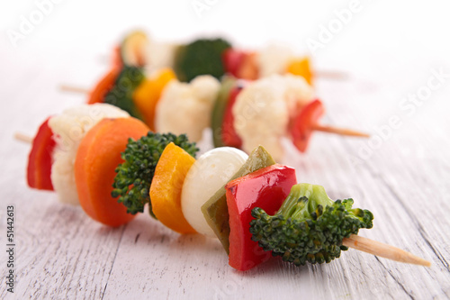 vegetables on pick