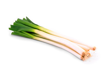 Spring onion isolated (scallions) on a white background