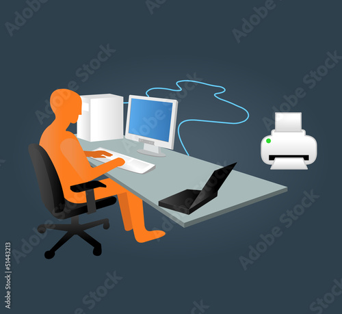 Template with business man working on computer in office