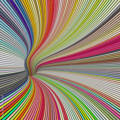 3d render tunnel vortex in rainbow colors