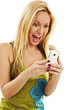 Happy and surprised young woman looking on mobile phone