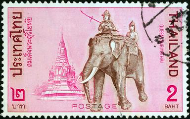 Queen Suriyothai riding elephant (Thailand 1970)