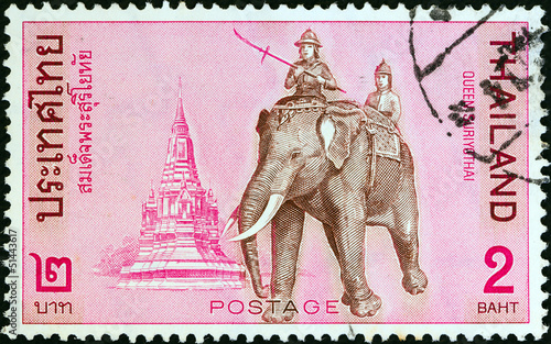 Queen Suriyothai riding elephant (Thailand 1970)