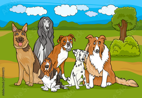 Foto op Canvas Honden cute purebred dogs group cartoon illustration