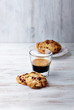Glass of espresso and cranberry cookies