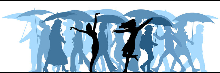 Illustration of crowd moved unknown people in the rain.