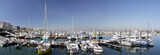 Panoramic colourful boats, Archachon Harbour, Gironde, France