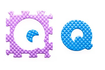 Colored letters Q alphabet for children