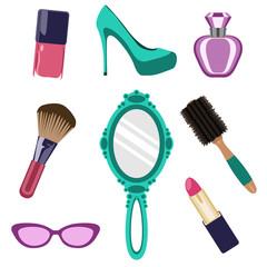 Conjunto de objetos de estética femenina