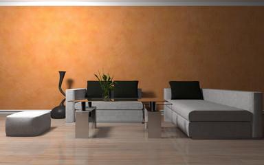 Wohndesign - Sofa weiß vor orangener Tapete
