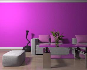 Wohndesign - Sofa weiß vor lilaner Tapete