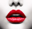 Quadro Sexy Lips. Conceptual Image with Vivid Red Open Mouth