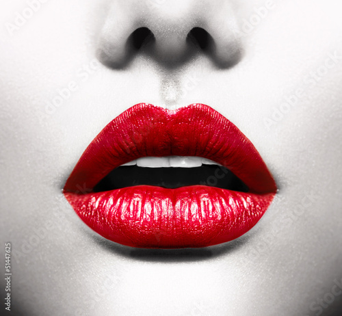 Sexy Lips. Conceptual Image with Vivid Red Open Mouth - 51447625