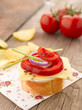 Canape with tomatoes and mozzarella