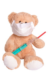 Teddy with a mask and syringe