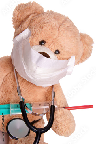 Teddy with syringe and stethoscope