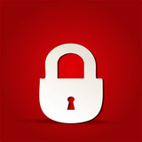 EPS Vector 10 - lock icon on isolated on red