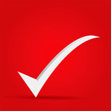 EPS Vector 10 - OK mark icon on isolated on red