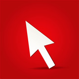 EPS Vector 10 - arrow click icon on isolated on red