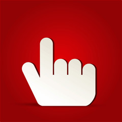 EPS Vector 10 - finger click icon on isolated on red