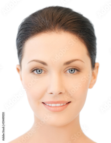 face of beautiful young brunette woman