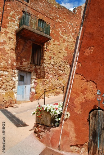 Houses in ocher village of Roussillon, Provence, France