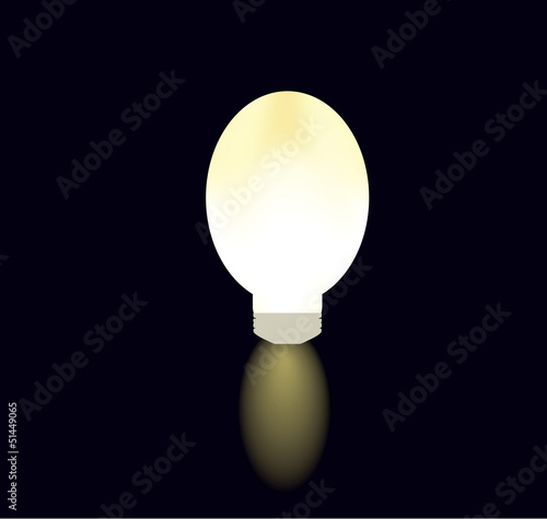 light bulb on black curtain as creative concept