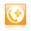 emergency call orange square web glossy icon