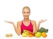woman with fruits and hamburger