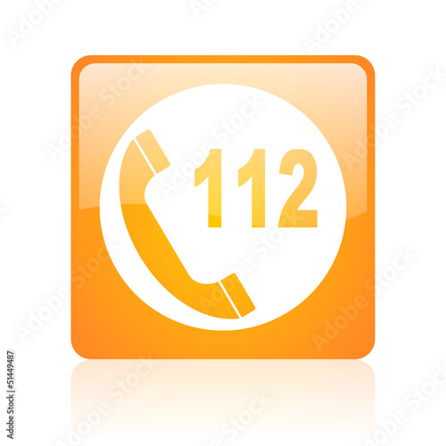 emergency call orange square web glossy icon