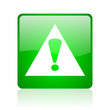 warning green square web glossy icon
