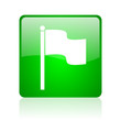 flag green square web glossy icon