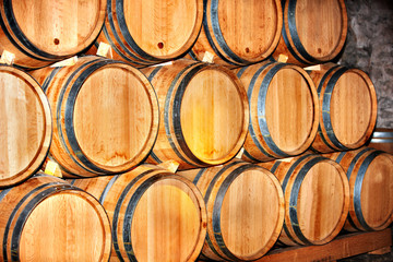 Barrel of wine in winery.