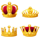 Set of gold crowns isolated.