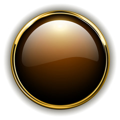 Gold button shiny metallic, vector.