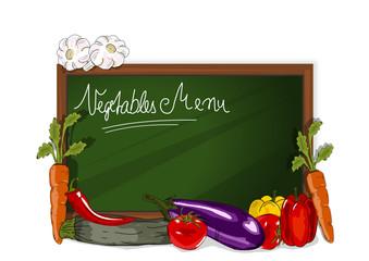 Speisekarte., Tafel mit Gemüse
