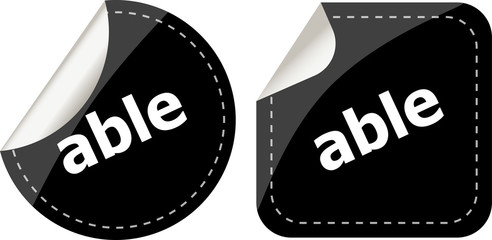 able word black stickers set icon button