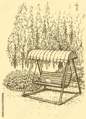 Vector landscape. Swing-bench near flower beds under willow