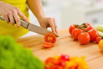 Closeup on woman cutting tomato