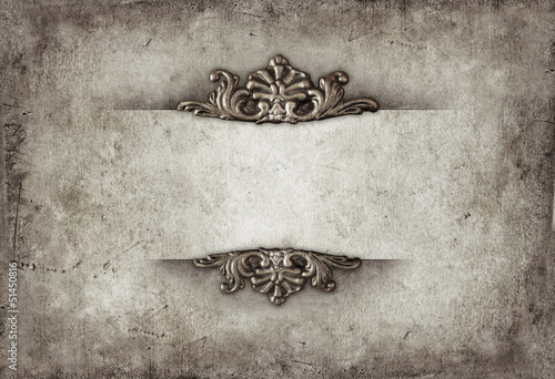 Vintage royal silver horizontal background with floral ornaments © pinkyone