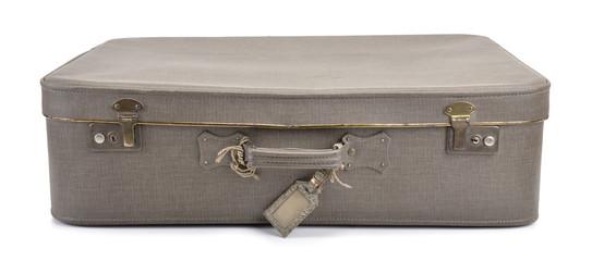 Retro suitcase on white