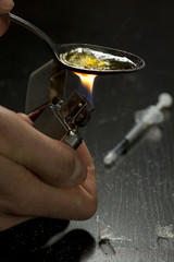 Close up of heroin being cooked