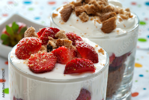Sweet strawberry dessert with cream