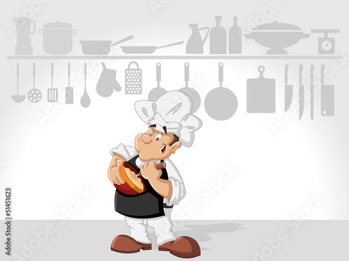Chef man cooking delicious meal in restaurant kitchen