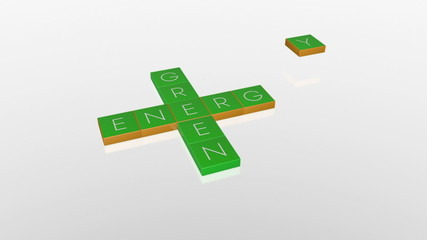 Green Energy, falling boxes with camera animation against white