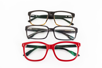 many red and black eyeglasses