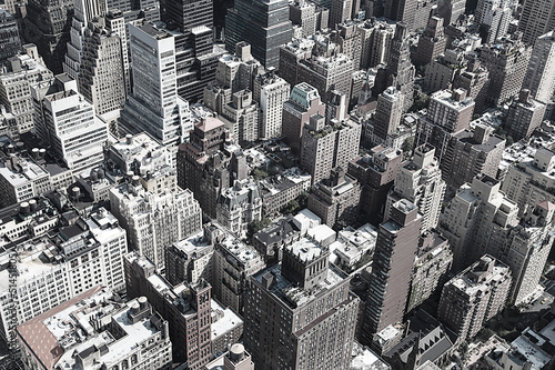 Black and white rooftops of Manhattan, New York City